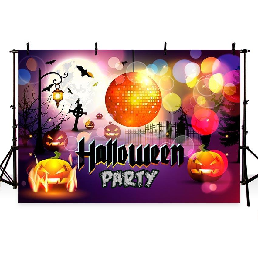 Chevron Pumpkin Golden Ball Backdrop Halloween Photography Background