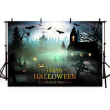 Horror Magic Castle Pumpkin Backdrop Happy Halloween Party Photography Background