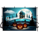 Blue Dark Castle Secret Pumpkin Backdrop for Halloween Party Photography