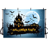 Dark Castle And Bats Backdrop for Halloween Party Photography
