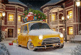 Winter Snow Old Yello Car Christmas Backdrop
