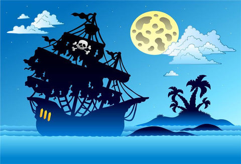 Cartoon Pirate Birthday Baby Show Photo Backdrop for Picture
