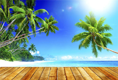 Brown Wood Floor Summer Tropical Holiday Backdrop