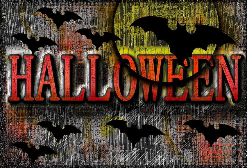 Grey Bats Halloween Backdrop for Photography Prop