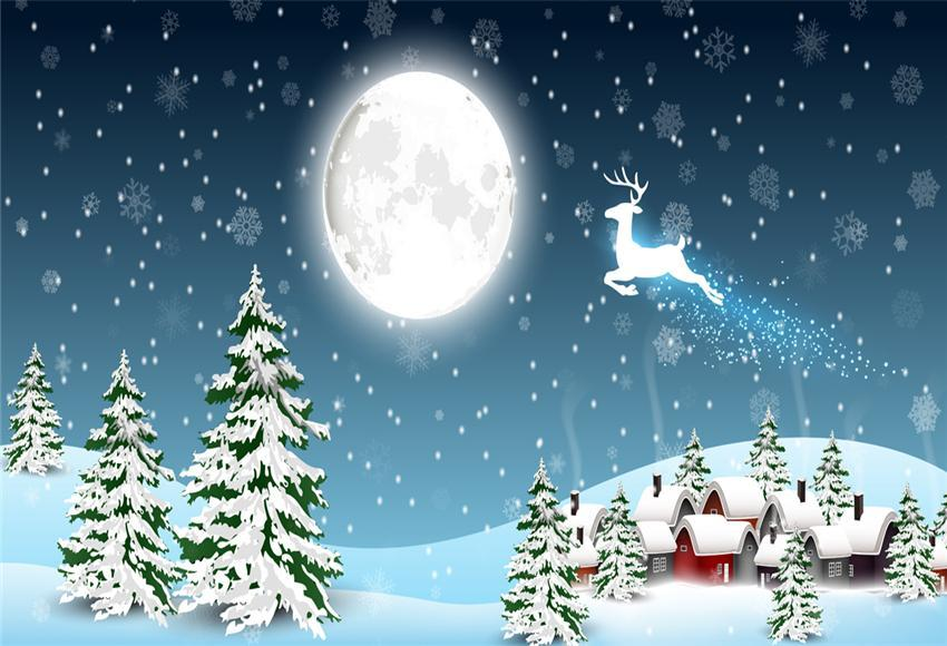Snow Winter Big Moon Christmas Backdrops