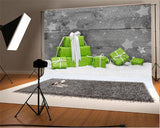 Snow Grey Wooden Christmas Backdrops