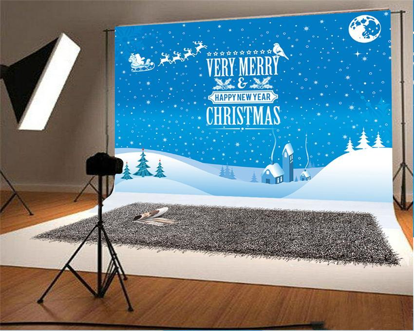 Merry Christmas Happy New Year Snow Backdrops