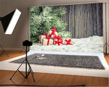 Snow Wooden Gift Backdrop for Christmas