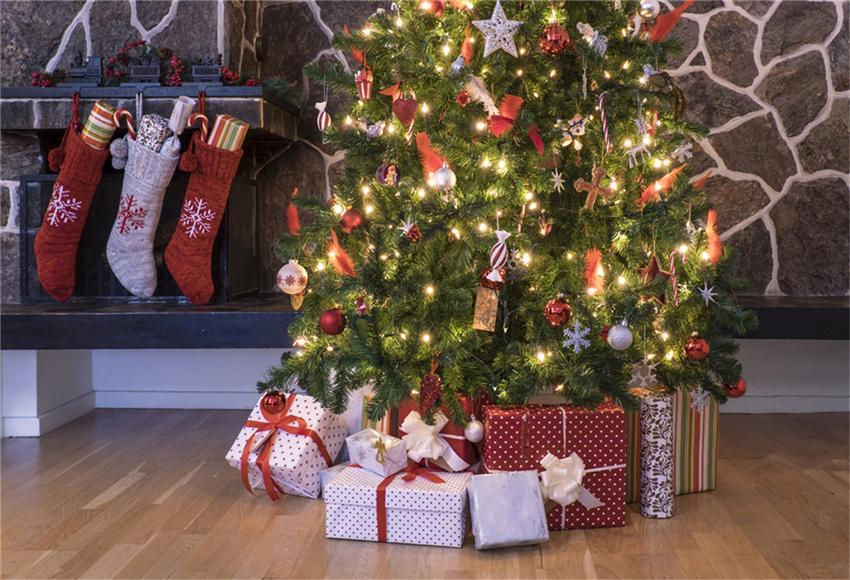 Bright Christmas Tree Backdrop Wood Floor Backdrops