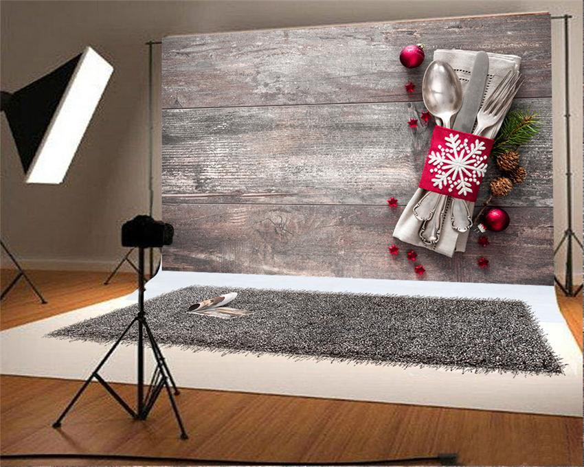 Kitchen Wooden Christmas Photo Studio Backdrop