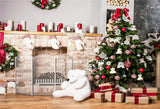 White Bear Brick Fireplace Christmas Photography Backdrops