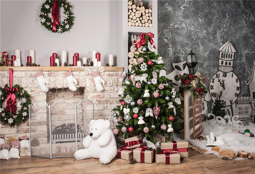 Christmas Photography Backdrop for Wood Floor
