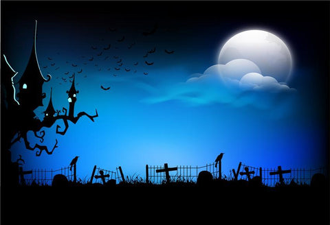 Blue Halloween Backdrop Bright Moon Black Castle Photography Prop