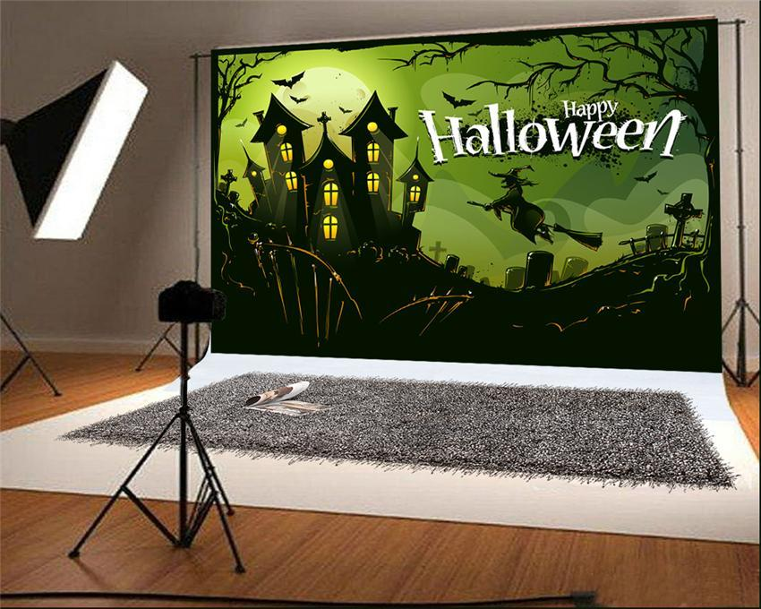 Happy Halloween Black Witch Castle Backdrop for Picture