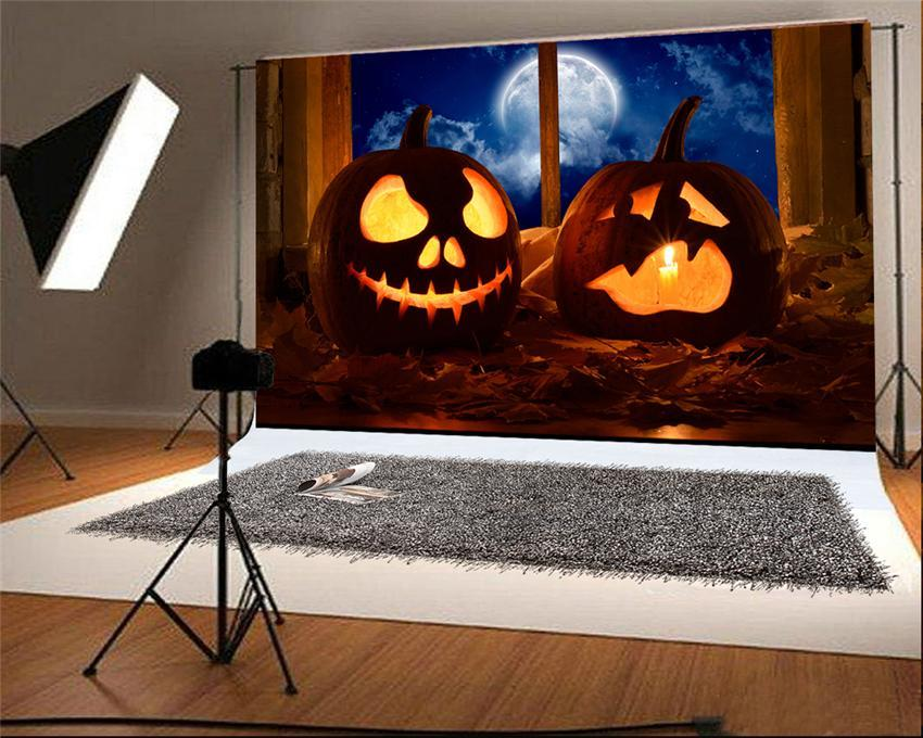 Window Halloween Pumpkin Light Photography Backdrop