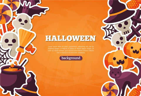 Orange Cartoon Halloween Backdrops