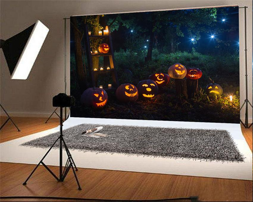 Halloween Photo Backdrop Pumpkin Light Forest Back dorps