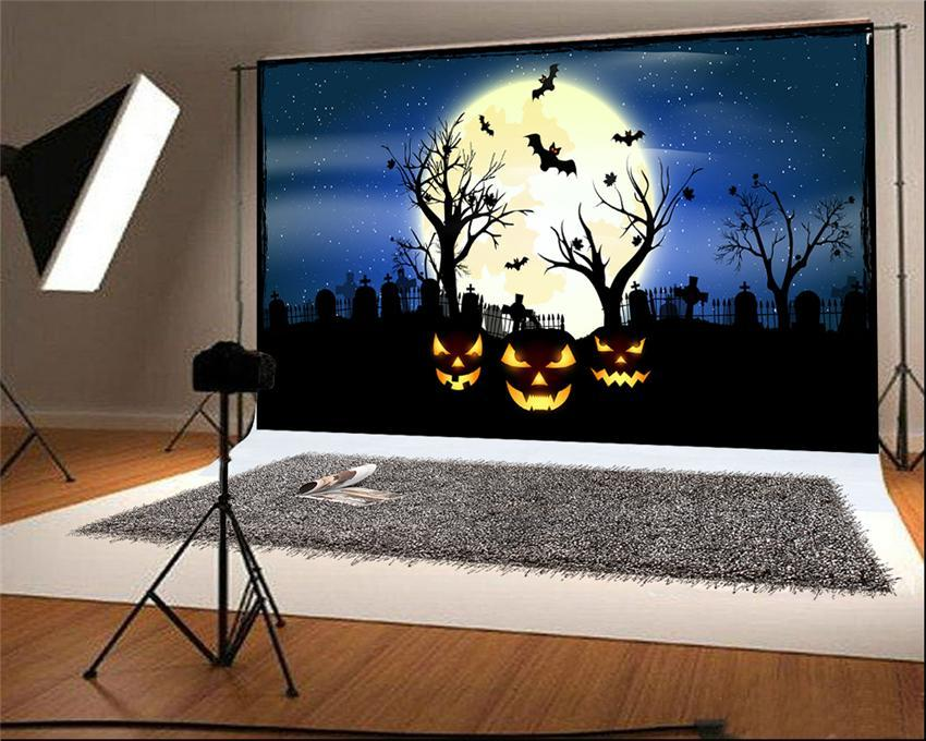 Halloween Photo Studio Backdrop Bright Moon Blue Sky for Photos