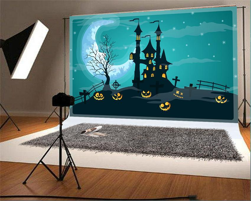 Black Castle Moon Halloween Photo Studio Backdrop