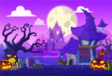 Purple Halloween Backdrop Castle Photo Background