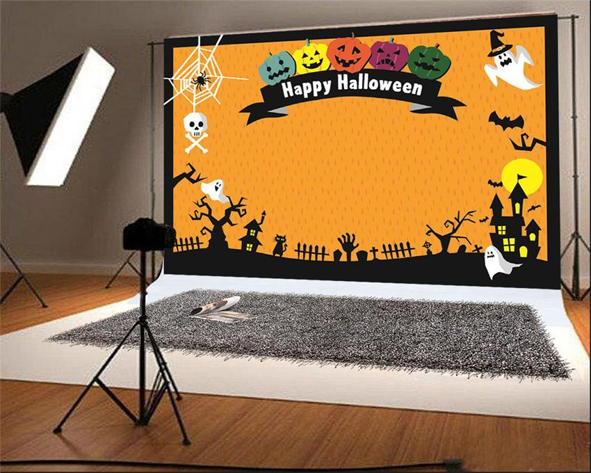 Happy Halloween Cartoon Pumpkin Photo Backdrops