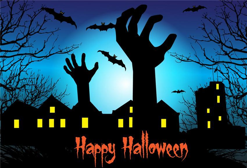 Happy Halloween Photography Backdrop Black Bats Background