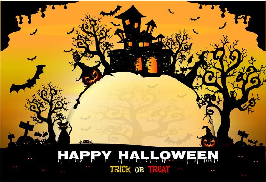 Yellow Halloween Branches Photo Backdrops