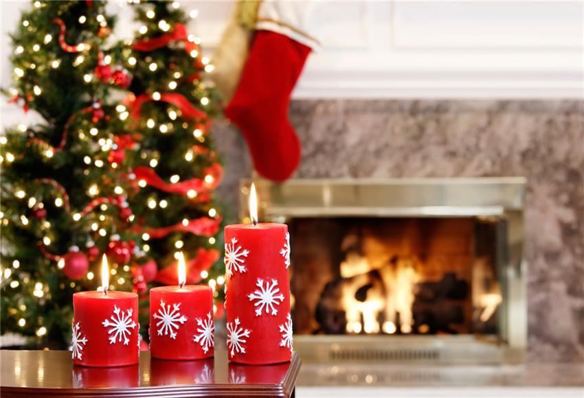 Christmas Backdrop Fireplace Candle Photography Prop