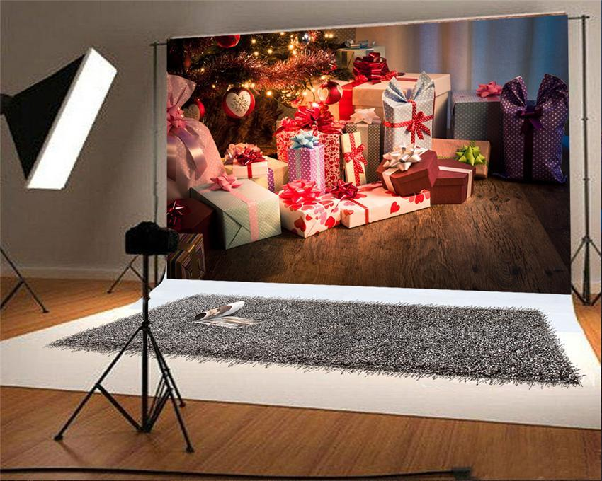 Wooden Floor Christmas Backdrop Gift Photo Backdrop