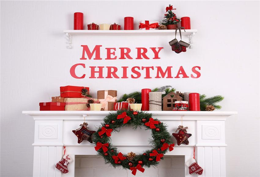 White Fireplace Merry Christmas Photography Backdrops