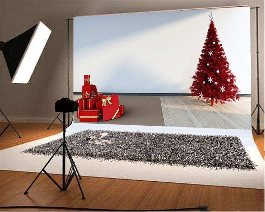 Red Christmas Tree Backdrop Wood Floor Happy New Year Background