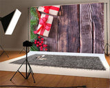 Brown Grain Wall Christmas Backdrop