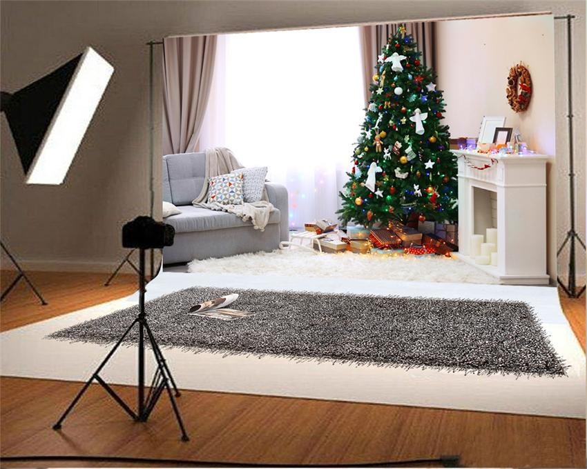 Christmas Photography Backdrops White Fireplace Background