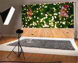 Green Shiny Polka Christmas Backdrop Wood Floor Background
