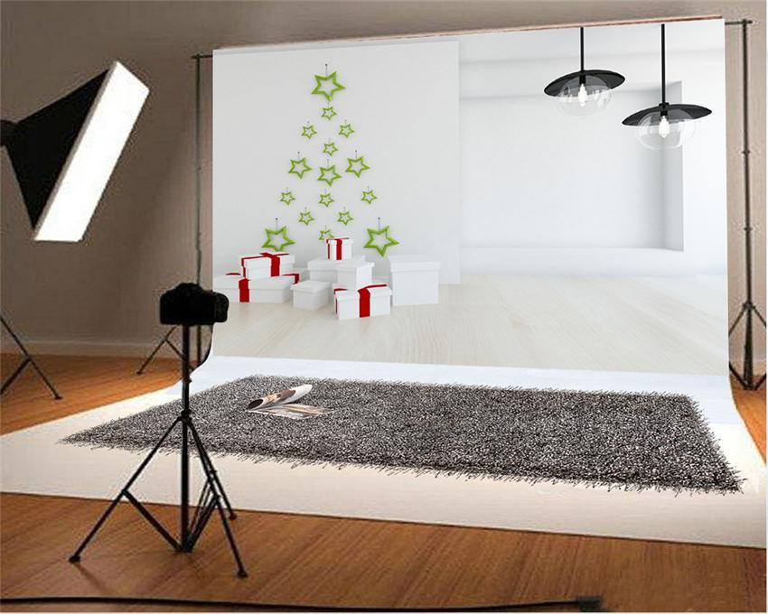 White Christmas Wood Floor Photography Backdrop