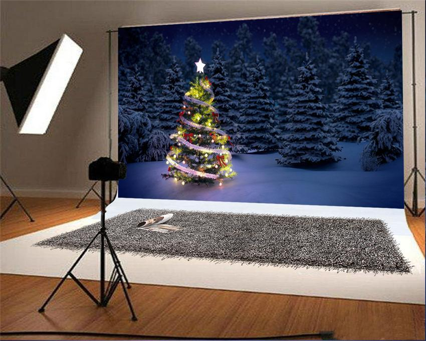 Night of Snow Forest Winter Photo Studio Backdrops