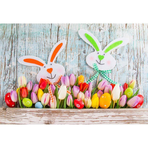 Cute Rabbit Colorful Eggs and Flowers Before Wood Wall Backdrop For Easter photography