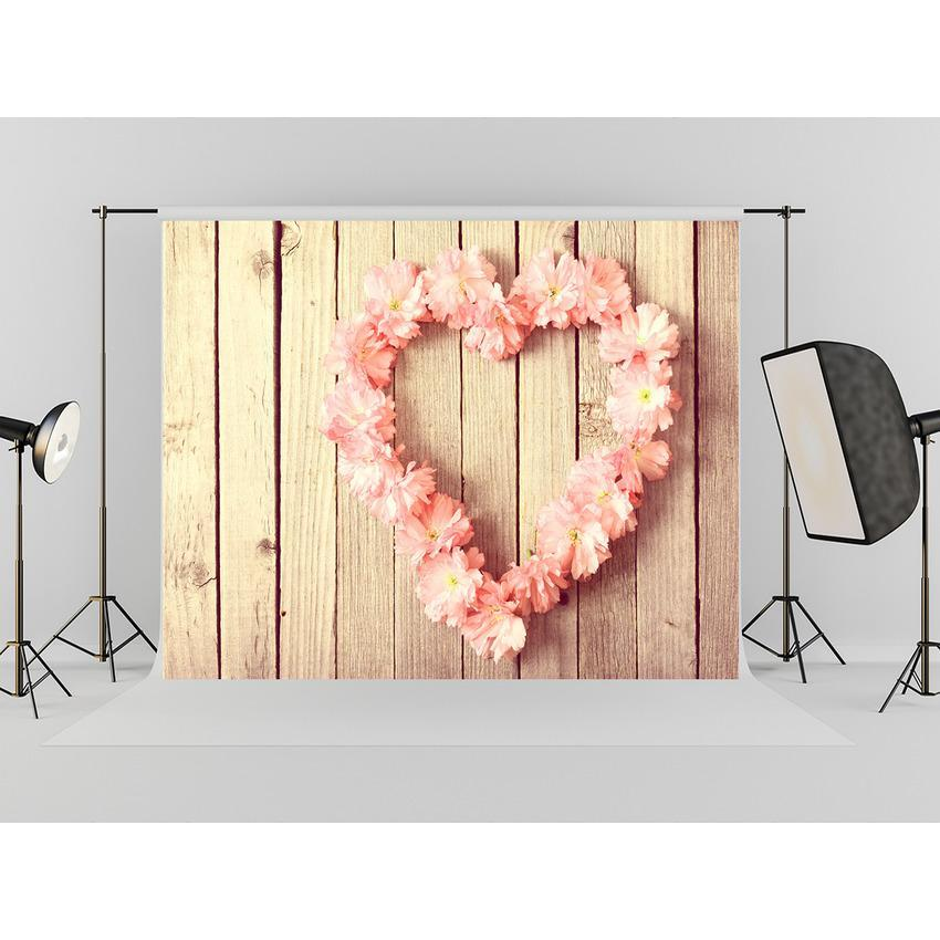 Pink Flower Heart  On Wood Floor Backdrop For Mother 's Day Photography