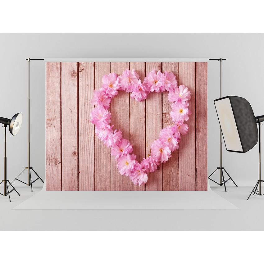 Love Heart On Wood Floor Backdrop For Mother 's Day Photography