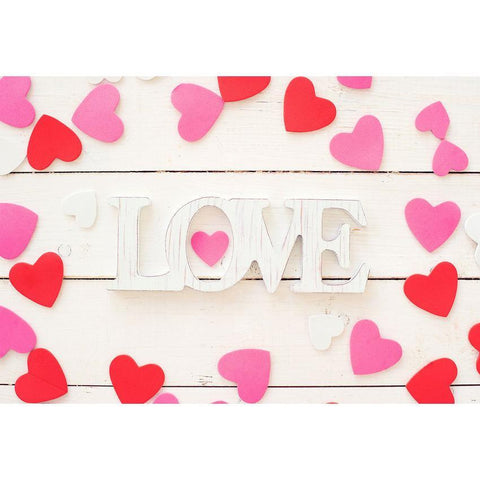 PInk Red Heart White Wood Floor Backdrop For Mother 's Day Photography