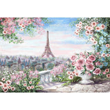 Spring Scenery Backdrop City Overlook Eiffel Tower Photography Background