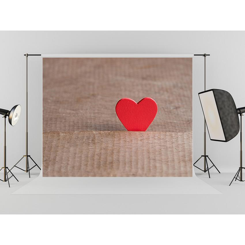 Red Heart  Brown Wall Backdrop For Mother's Photography Background