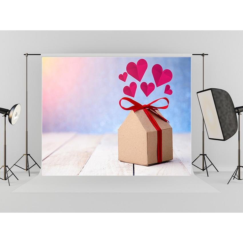 Red Heart Delicate Gift Backdrop For Mother's Day Photography Background