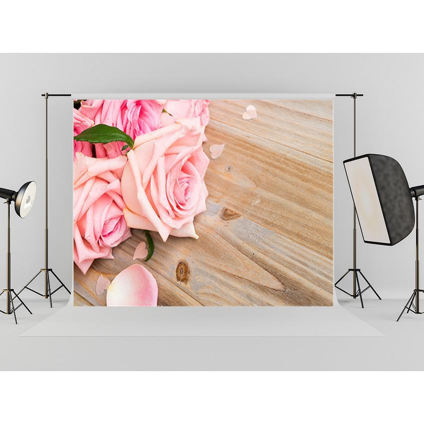 Pink Carnation Flowers On  Wood Floor Backdrop For Mother's Day Photography