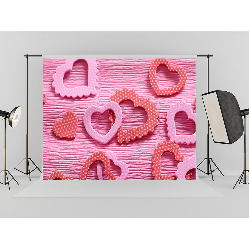 Red Love Heart Backdrop Mother's Day Photography Background