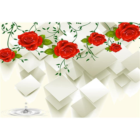 Red Flowers Decoration Backdrop Romantic White Photography Background