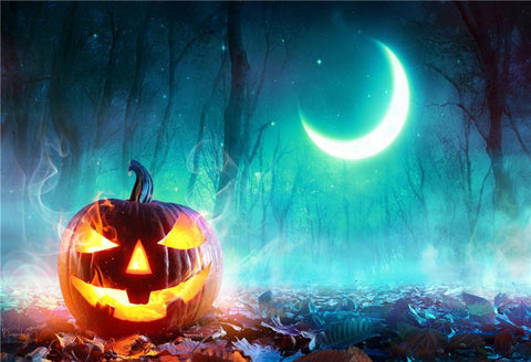 Halloween of Night Fall Leaves Photography Backdrops