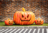 Brick Wall Big Pumpkin Photography Prop Backdrops