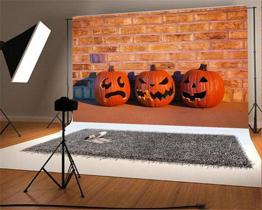 Pumpkin Sculpture Halloween Backdrop