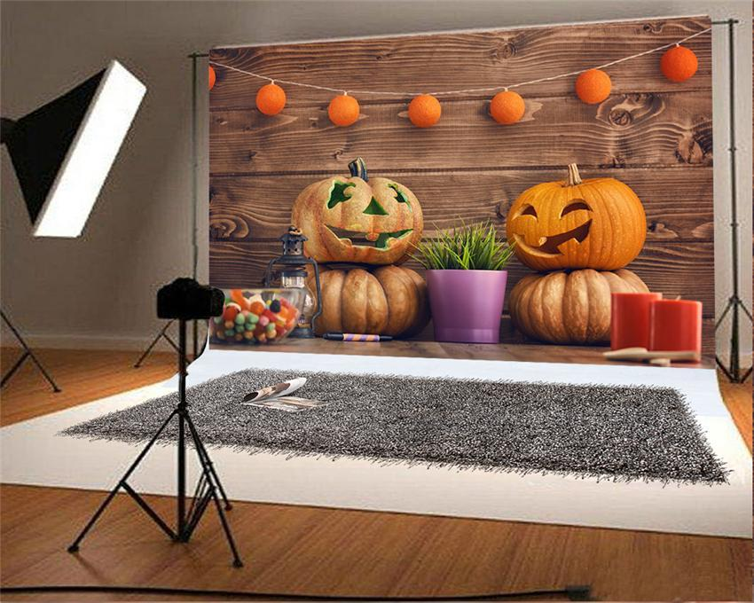 Brown Wood Wall Pumpkin Backdrop for Photography